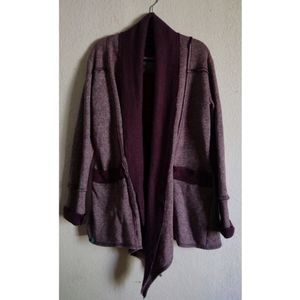 Bloom Dark Purple Open Waterfall Cardigan Sweater